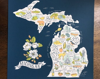 "Michigan Iconography Map Art Print 18""x18"" Hand Silkscreened"