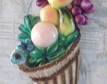 Vintage  Chalkware Fruit Plaque