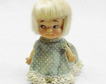 1965 PeeWee Doll by Uneeda Blonde Hair Blue Polka Dot Dress 1960s