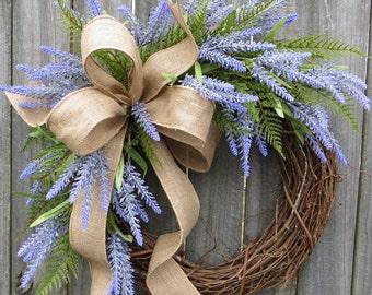Lavender Wreath, Spring / Summer Wreath, Burlap Lavender Farm Wreath