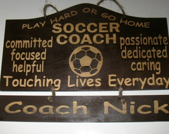 Personalized Wooden Soccer Coach Wall Hanging with 2 hanging name plates