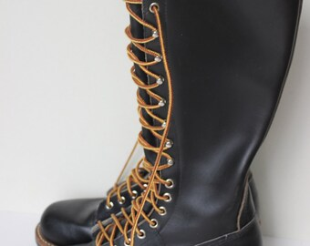 Karl Kuemmerling Lineman Boots Tall Black Leather Lace Up Chainsaw Work Boot