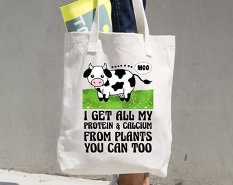 Vegan Tote Bag, Beach Bag, Yoga, Protein & Calcium