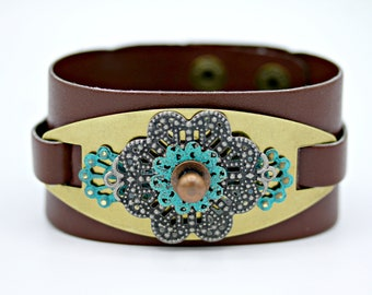 Industrial Steampunk Patinaed Medallion Leather Cuff