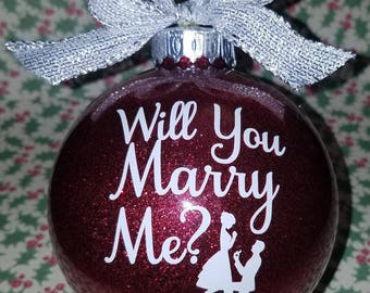 Personalized Proposal Glitter Ornament | Will You Marry Me | Engagment | Wedding | Mr. & Mrs. | 2 sided | Marriage | Customized
