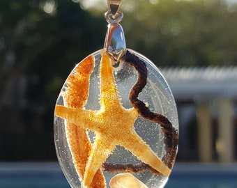 Real Starfish Sealife Resin Necklace, Beach Resin Silver Pendant, Sea Star, Seashell, Epoxy Resin, Beach Jewelry, Boho Jewelry, Unique Gift