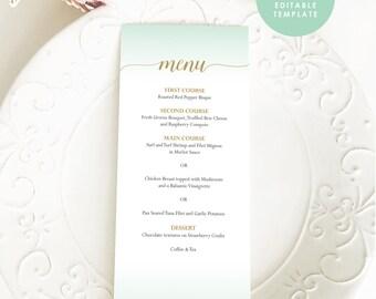 Wedding menu, Mint Green Menu, Mint menu,Printable Menu,Mint and gold Menu,Menu Template, Printable Menu, Editable menu PDF, DIY menu, WM113