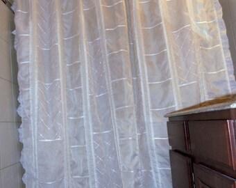 "Cream patchwork sheer shower curtain, 78"" x72"" bathroom curtain, ready to ship"