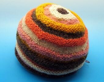 Bullseye Handdyed Handspun Handknit hat of wool and mohair
