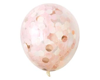 "Rose Gold Confetti Balloon with Blush Pink - Rose Gold Balloons 12, 16, 18, 36 inch Large & Small Ivory 1"" Circle Filled Tissue Paper Decor"