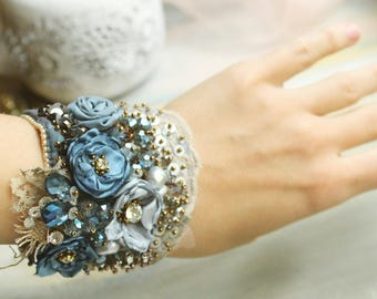 Delicate bead embroidered lace cuff Tattered textile cuff bracelet Shabby chic fabric cuff Bead embroidered cuff bracelet