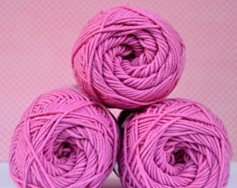 Kacenka - soft cotton/acrylic yarn for crochet and knitting, Pink/cyklamen color, No. 3454, 1 ball/50 g, Producer NCT