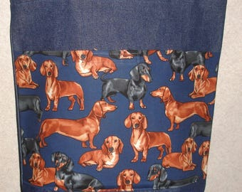 New Large Handmade Dachshund Doxie Weiner Dog Denim Tote Bag