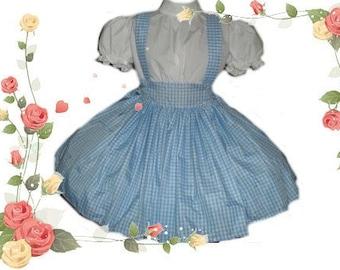 Dorothy Dress Wizard of Oz Costume Blue Gingham Dress Handmade High Quality Halloween Costume  Womens Adult Custom Size including Plus Sizes