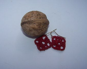Red crocheted small earrings square Granny style
