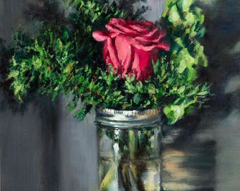Mason Jar Winter Floral Still Life ORIGINAL Oil Painting by Andrea Packard