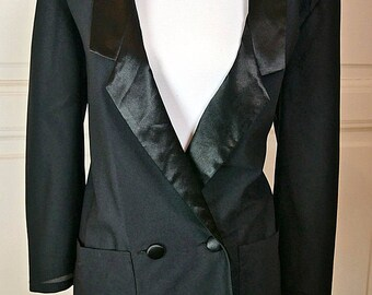 British Vintage Sheer Black Tuxedo Jacket Women's, Size 10 (US), Size 14 (UK), Sheer Black Blazer, Retro Tuxedo Women's, Ladies' Tuxedo