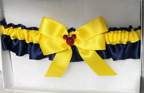 Hidden Mickey Wedding Garter-Bridal Garter-Snow White Navy and Yellow-Disney Inspired Shower Gift