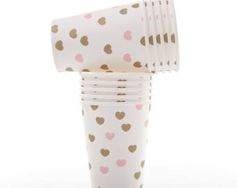 Cups | Sweetheart Gold and Pink Paper Cups | Gold Hearts | Pink Hearts | Quality Paper Cups | Party Supplies The Party Darling