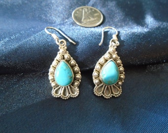 NEW LISTING - Blue Arizona Sleeping Beauty Turquoise Sterling Silver Dangle Earrings