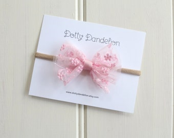 Pink Lace Baby Headband  Pink Baby Headband Pink Bow Headband Pretty Baby Headband Lace Baby Bow Pink Baby Bow