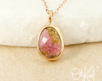Free Form Oval Watermelon Tourmaline Necklace - Natural Tourmaline Pendants - Choose Your Setting
