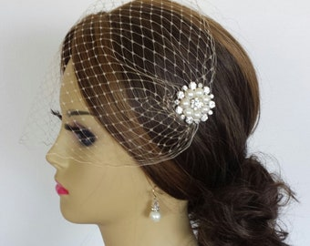 """CHAMPAGNE BIRDCAGE VEIL With Your Choice Of Embellishment plus Rhinestone Hairpin - 2 Sizes and 4 Colors Available - """"Susie"""""""