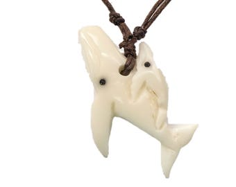 Tagua Nut Necklace: Whale with Baby (1153-N664)
