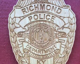 Richmond Kentucky Badge Plaque made from ASH