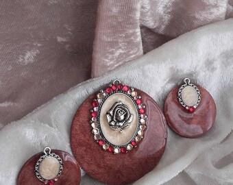 romantic old silver pendant Pink pomegranate creation set