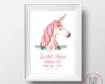 Unicorn print, wall print, unicorn wall print, girls room art, unicorn, unicorn art, girls name print, girls wall art, girls decor, custom
