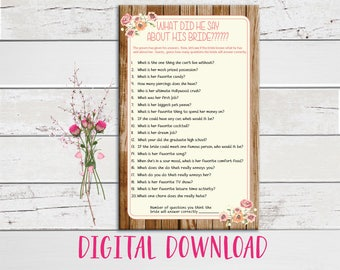 What did he say about his Bride, Wedding Shower Game, Bridal Shower Game, Rustic Wood, Peach Flowers, Instant Download, Couples Shower