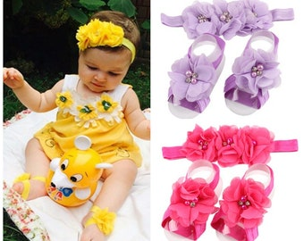 FREE SHIPPING / Baby Barefoot Sandals and Headband Set / Beach Sandals / Baby Accessories Set