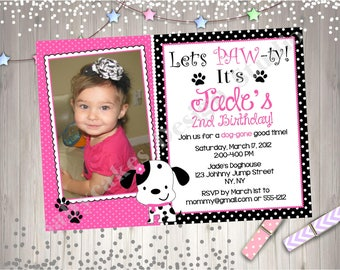 Let's Pawty Puppy Birthday Party Invitation Invite Photo Picture