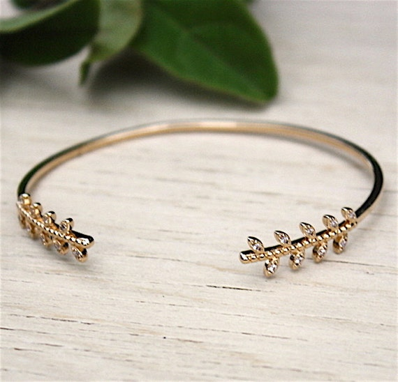 Bracelet Bangle gold plated spikes 750 thousandth and zirconium