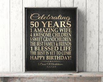 50th BIRTHDAY Gift Party Sign Personalized 50th Birthday Print Over the Hill Banner Black Distressed Poster Canvas PRINT