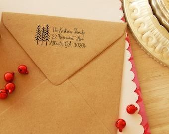 Forest Trees Return Address Olive Wood Stamp