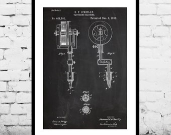Gift for tattoo artist vintage tattoo machine patent prints tattoo machine patent tattoo machine poster tattoo machine blueprint vintage tattoo print malvernweather Image collections