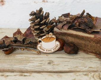 Twin Peaks Brooch Damn Fine Coffee, Laser Cut Plywood Pin