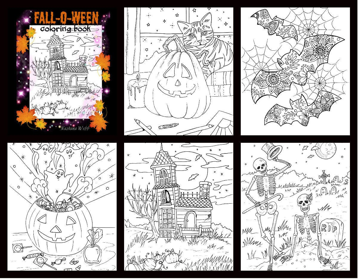 Adult coloring pagesfallhalloween 5 page pdf set