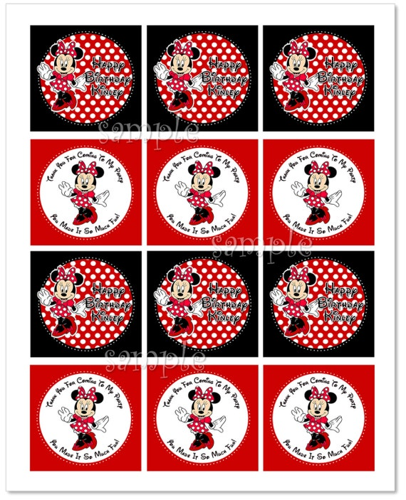 Items Similar To Personalized MINNIE MOUSE Party Circles
