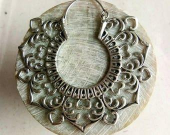 Big Hoop Earrings, white metal Earrings. Brass Earrings, Boho Earrings. Hoop silver Earrings. Festival Earring, boho jewelry. Handmade.