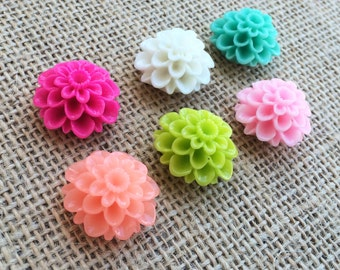 Set of 6 Bright Citrus Dalia Flower push pins, thumb tacks