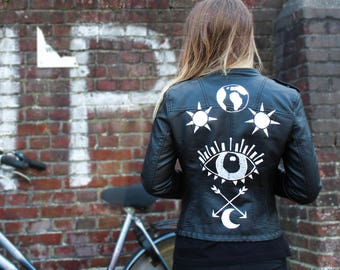 Vintage Handpainted Faux Leather Jacket by EARTHENTIC