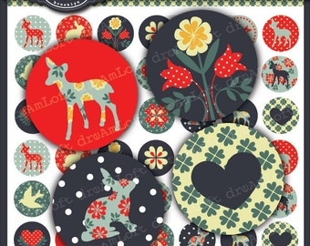 Woodland Fawn Collection 1 x 1 inch Circle Digital Collage Sheet