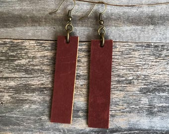 Leather Earrings, Hand Made Earrings, Handcrafted Leather Bar Earrings, genuine leather, hand made, jewelry, leather earrings
