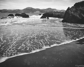 Black and White Beach Photography - baker beach seashore coastal art san francisco wall decor 11x14 ocean wall art 16x20 8x10 All Washed Up
