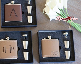 Mens Personalized Flask - Groomsmen Gift - Leather Hip Flask Gift Set  -  Engraved with Name, Monogram or Initials Birthday Gift