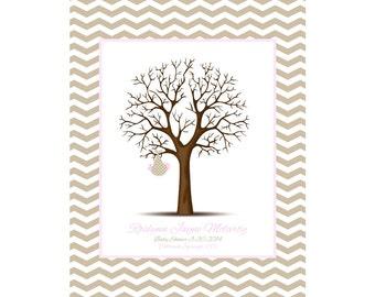 Chevron Faux Mat Thumbprint Tree, Baby Shower Gift, Alternative Guestbook, Nursery Decor, Baby Girl Nursery, Baby Boy Nursery