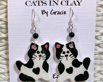 Black & White Cat Shaped French Wire Earrings Handmade In Kiln Fired Clay by GMS